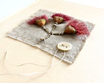 Collage art eucalyptus flowers botanical them assemblage textile art