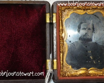 Tin type civil war SOLDIER  AMBRO in 9th plate hard case VALENTINE gIFT