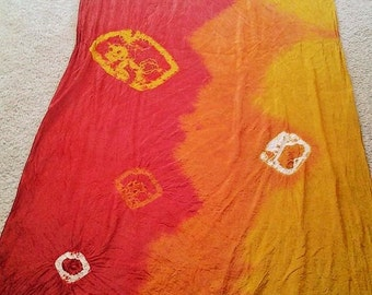 Made to order Aztec Gold, Orange and Red Tye Dyed Silk Veil