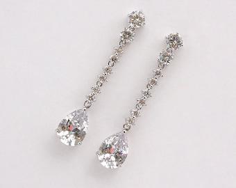 Sarah - CZ Wedding Earrings, Long Earrings, Bridal Earrings, Crystal Teardrop Earrings, Bridal Jewelry, Cubic Zirconia, Bridesmaids Gifts