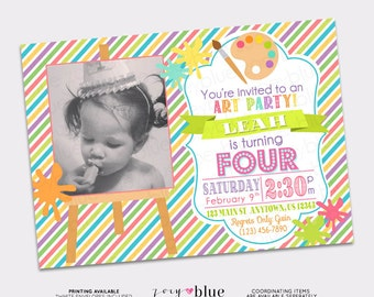 Painting Party Invitation Birthday Art Party Invitation Birthday Invitation Typographic Modern Invitation Striped Colorful Digital File