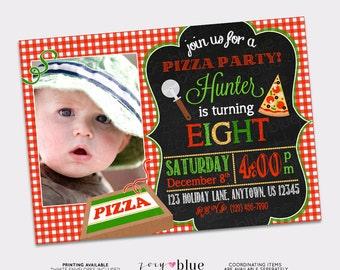Pizza Party Birthday Invitation Pizza Typographic Modern Invitation Red Gingham Chalkboard Green Red Birthday Printable Digital File