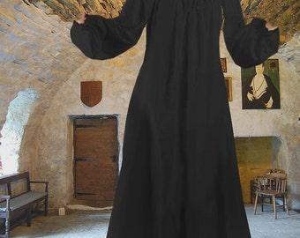 FREE SHIP Renaissance Medieval Chemise Undergown Petticoat Full Length Black Cotton lxl