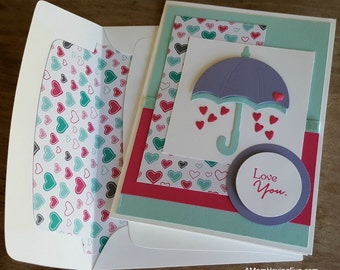 Handmade Loving You Card: Stampin Up Raining Love, Weather Together