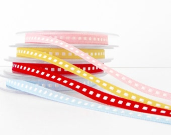 7mm Box Stitch Ribbon Red Blue Yellow Pink