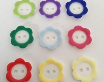 10 x 18mm Flower Rim Daisy Buttons - choose your colour
