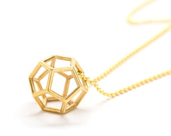 Divine Dodecahedron Pendant Necklace | Three Dimensional Pendant | Long Necklace | 3D Printed Geometric Necklace by Frost Finery