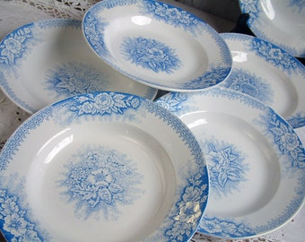 Set of 6 Antique french blue transferware soup plates. French ironstone. Blue transferware. French transferware.