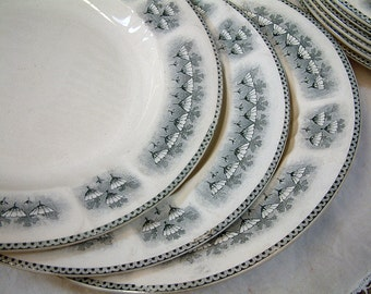 Antique french ironstone grey transferware soup plates from H.B.& Cie. / CHOISY-le-Roi. Grey transferware. French transferware