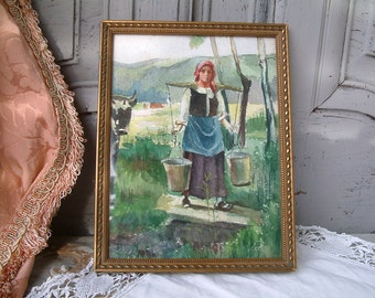 French vintage water color of peasant woman carrying water or milk pails. French country watercolor. Milk maid. French kitchen decor.