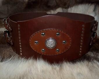 Celtic Hero Belt in Chestnut Brown Leather for LARP/LRP