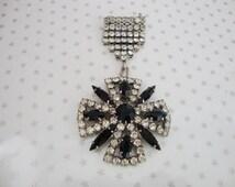 Vintage Silver Tone Clear Black Rhinestone Military Medal Drop Brooch //50s// //Heritage//