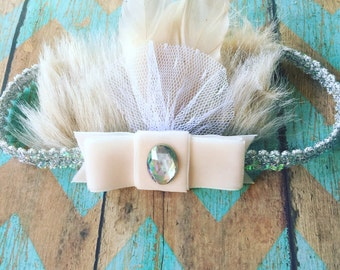 """The """"Annalise"""" fancy fur headband in silver"""