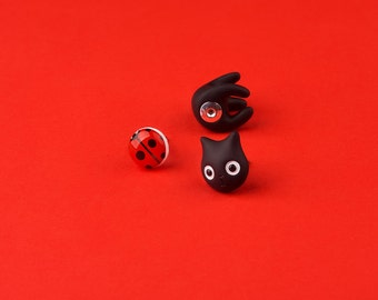 Black Cat Earring | Ladybug stud | Handmade & Handpainted | Summertime Collection