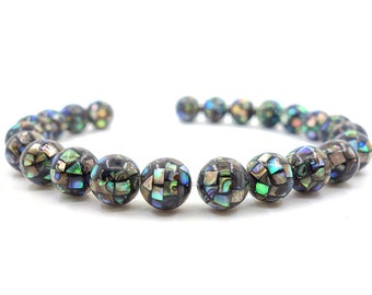 g0372 10mm Handmade Abalone shell mosaic ball round loose beads *select quantity*