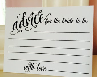 Advice Cards - bridal shower - bride to be