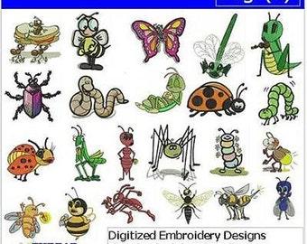 Embroidery Design CD - Bugs(1) - 22 Designs - 9 Formats - Threadart