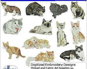 Embroidery Design CD - Cats(2) - 12 Designs - 9 Formats - Threadart