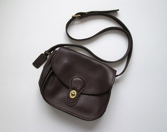 1980s Purse / Vintage 1980s Coach Purse / Leather Crossbody Coach Bag