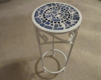 Blue Willow mosaic plant stand or table made with Blue Willow and other vintage blue and white china from England and USA