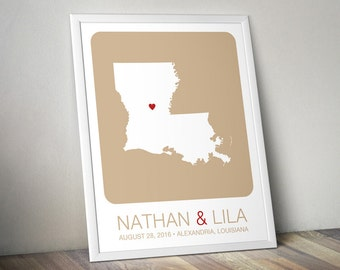 Personalized Wedding Gift : Louisiana State Map Print - Wedding Guest Book Poster, Engagement Gift, Custom Map