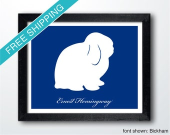 Personalized Holland Lop Bunny Rabbit Silhouette Print - Rabbit art, modern rabbit home decor