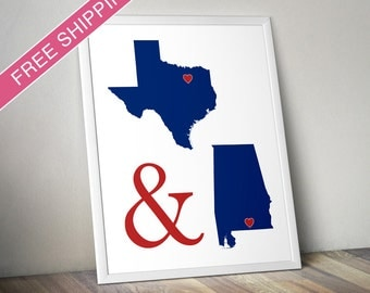 Custom Two States Art Print - His and Hers Hometowns Engagement Gift, Wedding Gift , Anniversary Gift, Long Distance Relationship Gift