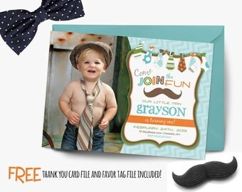 Little man birthday invitation, mustache birthday invitation, chevron invitation, party invitation printable, FREE thank you card