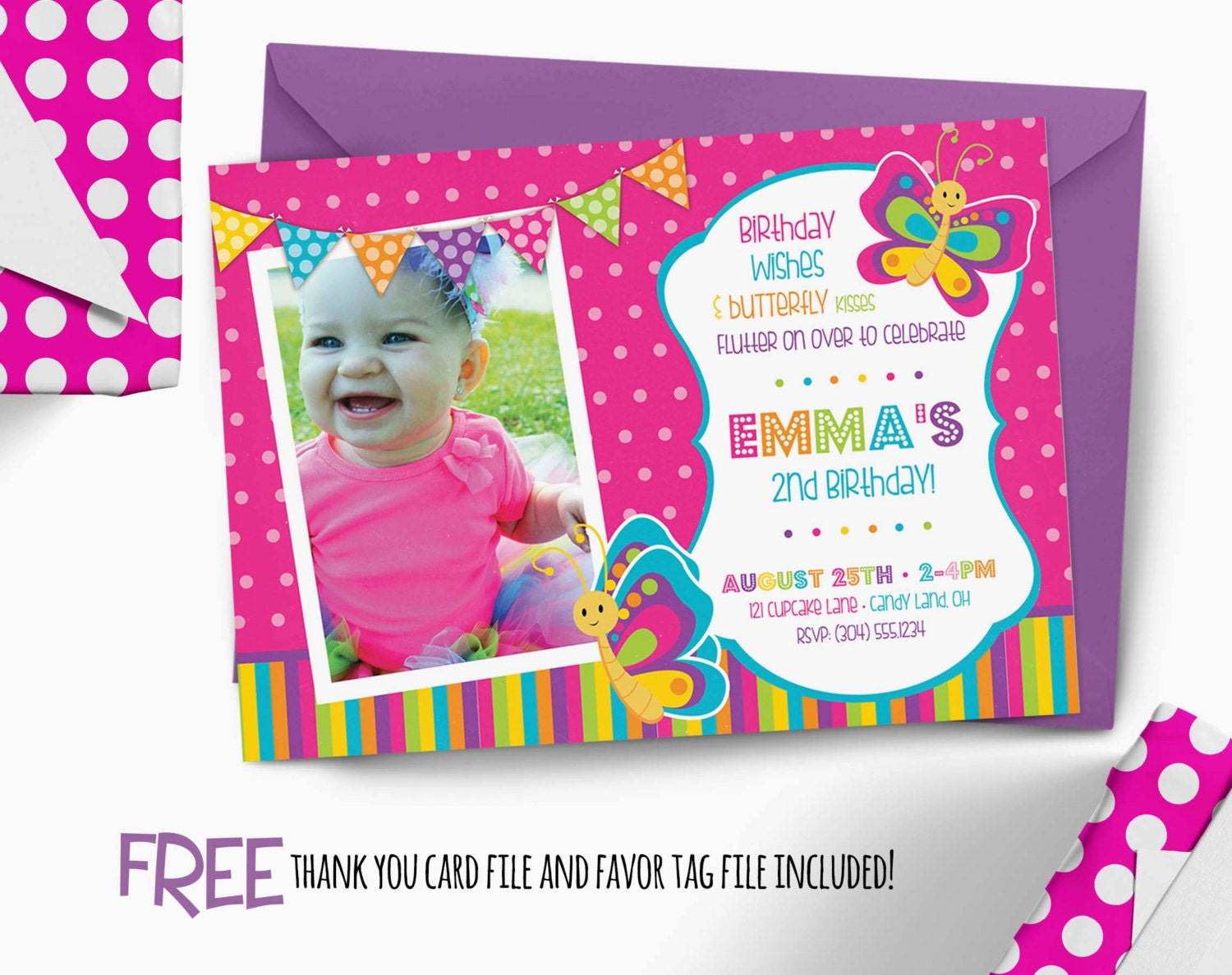 Butterfly Birthday Invitation First By