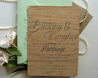 Wood Mint Rustic Wedding Invitation Sets - Custom Wedding Invitation Mint Foiled Rustic Invitation