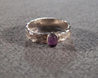 Vintage Sterling Silver & Genuine Amethyst Ultra Sleek Ring, A Splendid Unique Design in Size 7 ~~ **RL