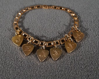 Vintage Art Deco Style Yellow Gold Tone Heart Design Name Jeanne Bracelet Jewelry    K#18