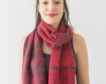 Red Scarf Reindeer Scarf Knit Scarf Winter Scarf Winter Shawl Gift For Her Gift For Him Men Scarf Men Scarf