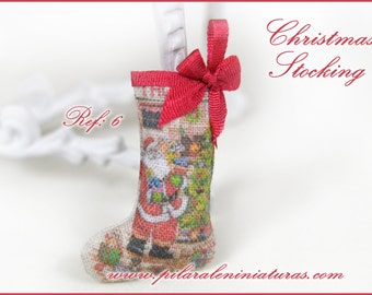 Christmas Stocking for dollhouse. Shabby chic design. 12th scale for dollhouse.