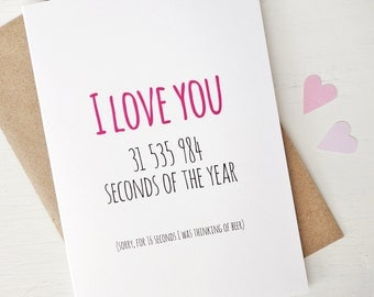 Funny I love you card thinking of beer valentines card for her gift for girlfriend anniversary card for wife