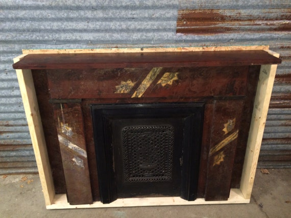 Eastlake Victorian Marbleized Slate Fireplace Mantel With Cast