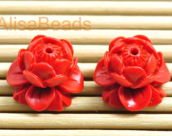 Vintage Carved Cinnabar ,red Spacer beads,Synthetic flower Beads ,14mm wide X  14mm length,10pcs