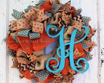 Fall Wreath, Autumn Decor, Burlap Wreath, Painted Vine Monogram Letter, Chevron, Turquoise, Orange, Brown