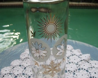 The FOUR Seasons Glass Decanter that has Symbols for each Season with Flower TOP!
