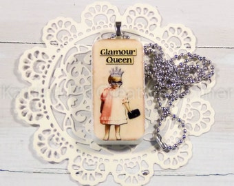 Glamour Queen Altered Domino / Glamour / Queen / Altered Domino / Domino Art / Repurposed / Tile Art /Pendant Chain