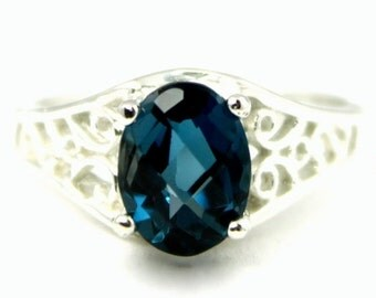 Valentines Sale 30% Off, SR005, London Blue Topaz, 925 Sterling Silver Ring