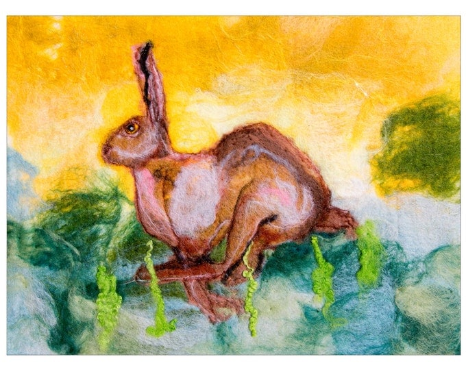 Giclee print of a wet felt original ' Running Hare ' by Sue Howat ( ON SALE )