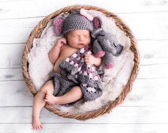 Crochet Newborn Elephant Outfit in Pink