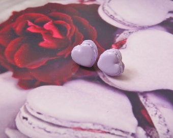 earrings purple heart macarons