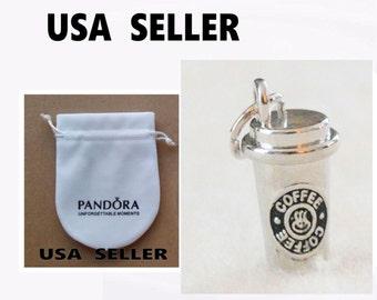 Pandora Anti-Tarnish Gift Bag Pouch + Starbucks Style Coffee Lovers Charm Bead