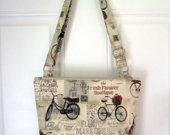 CROSSBODY BAG with a zipper closure vintage bicycles fabric