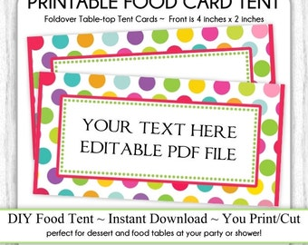 Circus Polka Dots Table-top Tent Cards, Carnival Birthday Party Food Card, Circus Food Tents, foldover, You Print, DIY, EDITABLE