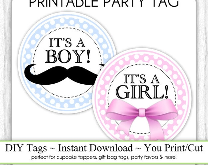 Instant Download, Baby Shower Printable Tags, It's a Girl Pink Bow, It's a Boy Mustache, Gender Reveal Printable, DIY, You Print, You Cut