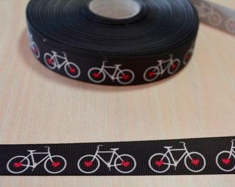 7/8 inch Grosgrain Ribbon - Bicycle, Bike, Cycling