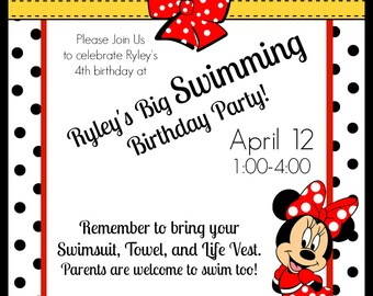 Custom Minnie Mouse Party Invitation